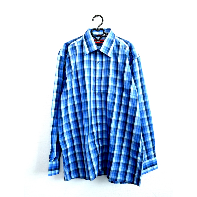 Мужская рубашка в синюю клетку в Челябинске