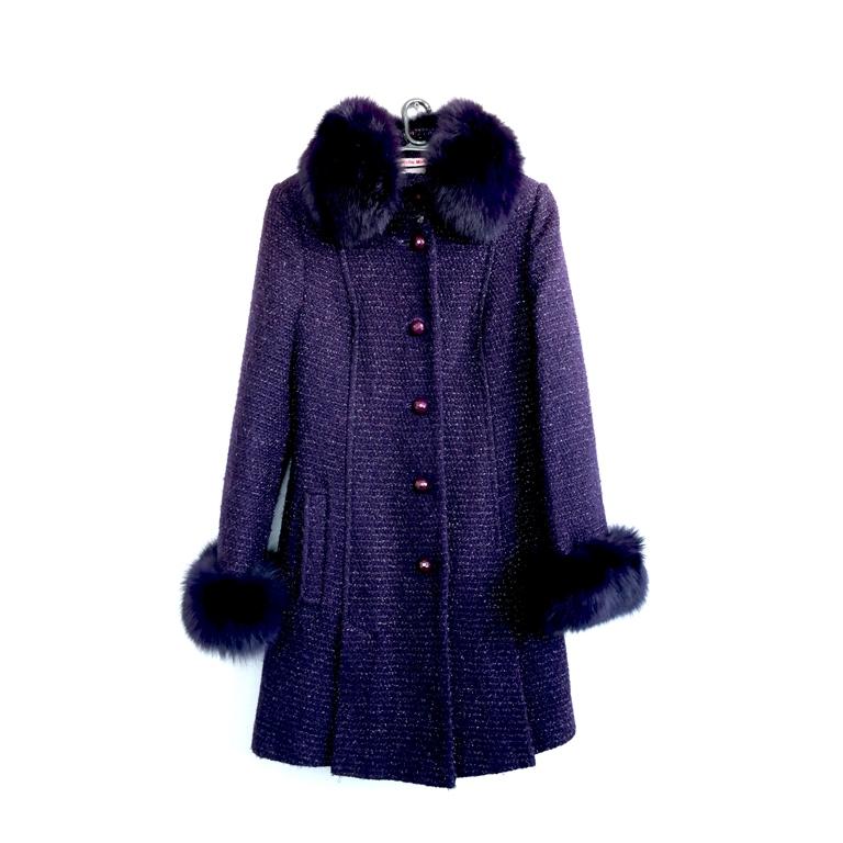 Пальто женское фиолетовое с воротником в Челябинске