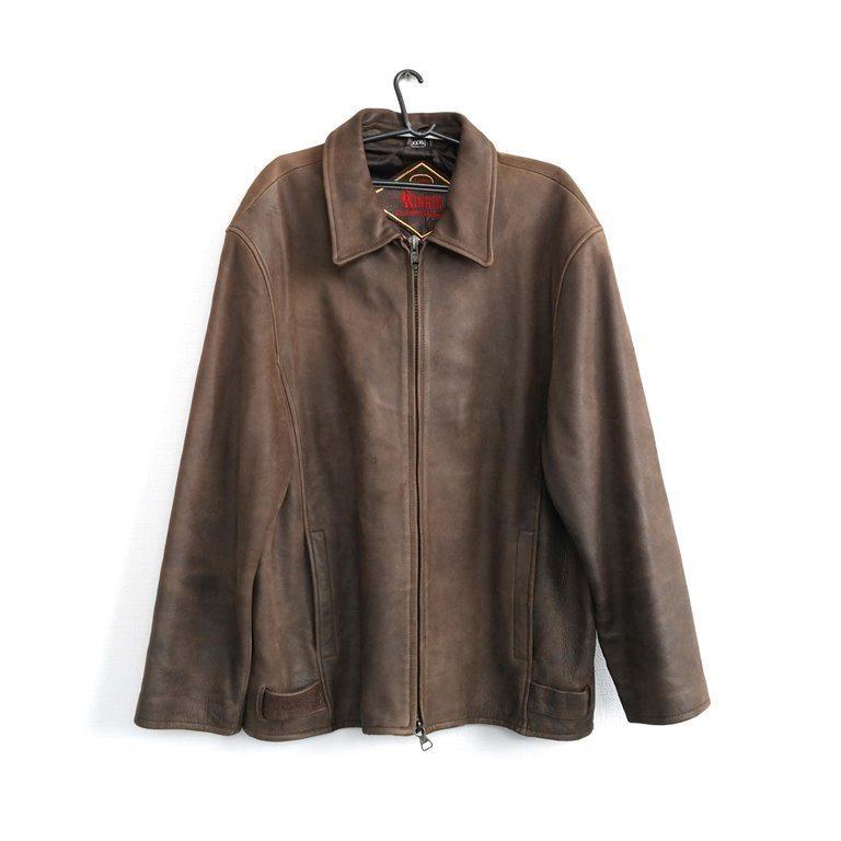 Мужская кожаная куртка коричневая в Челябинске