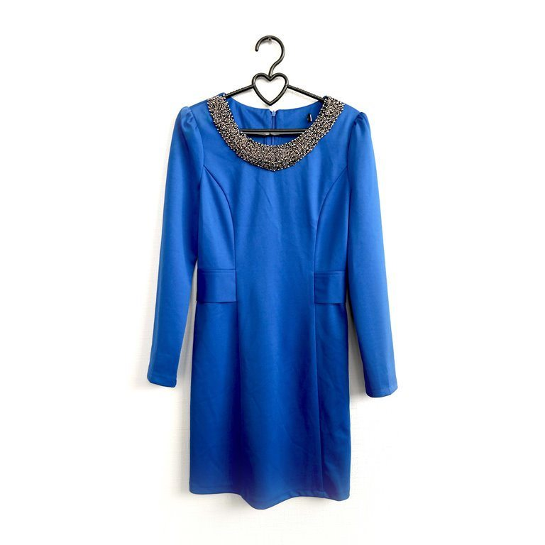 Женское коктейльное платье синее с воротником в Москве
