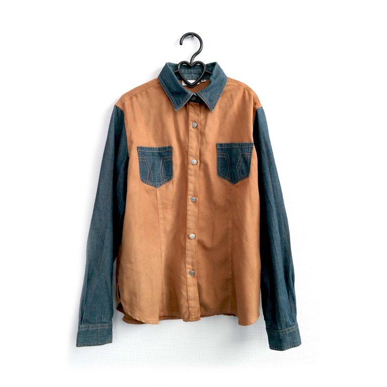 Рубашка мужская оранжевая с синими вставками  в Москве