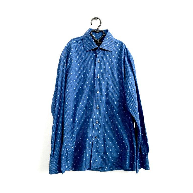Рубашка мужская синяя в горошек в Челябинске