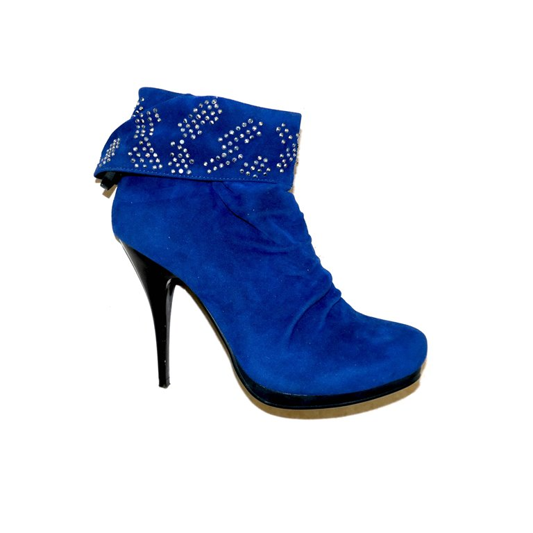 Женские сапоги на каблуке, синие в Москве