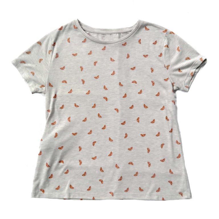 Серая хлопковая футболка унисекс с апельсиновым принтом в Москве
