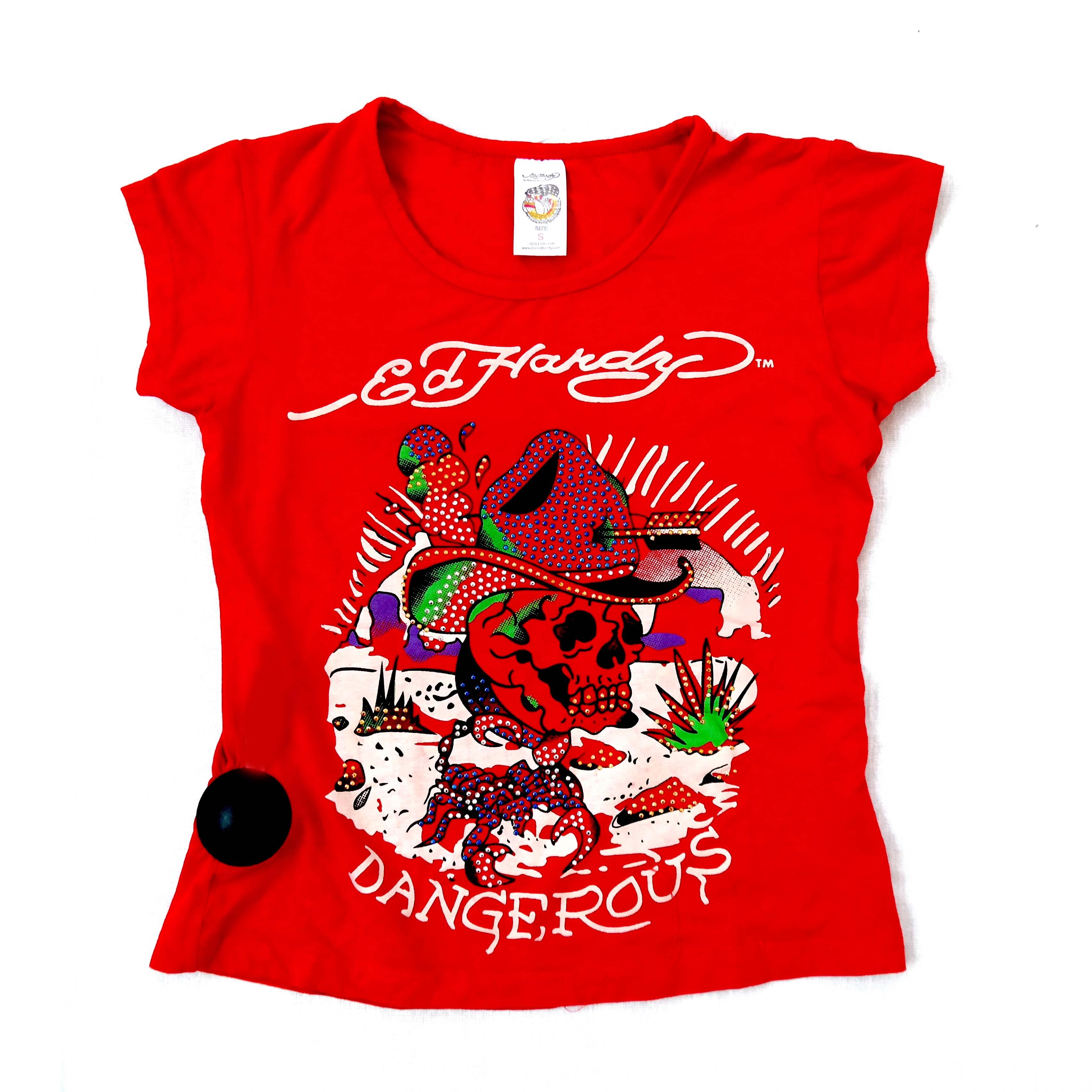 Женская красная футболка Ed Hardy в Москве