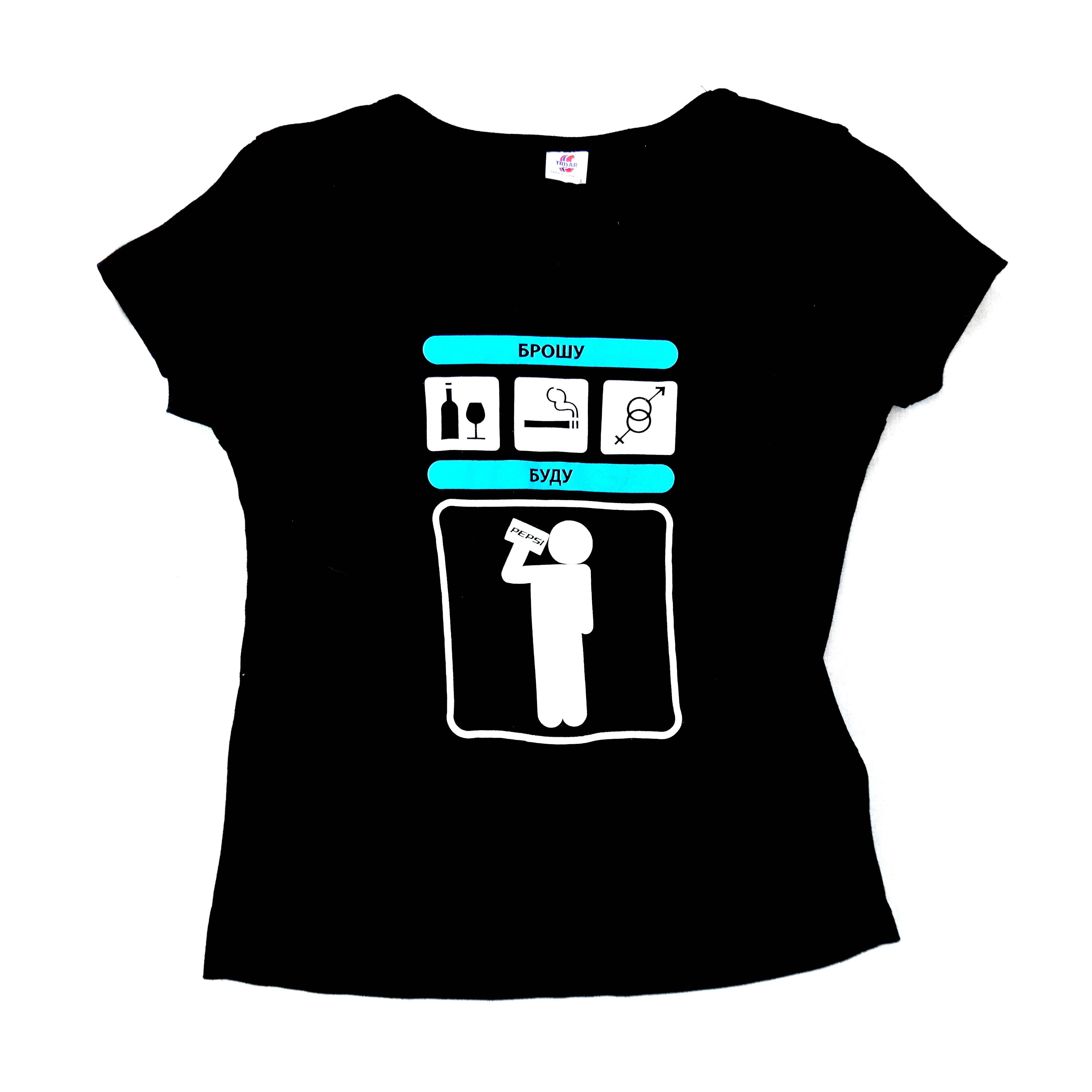 Женская хлопковая футболка черная с принтом  в Москве