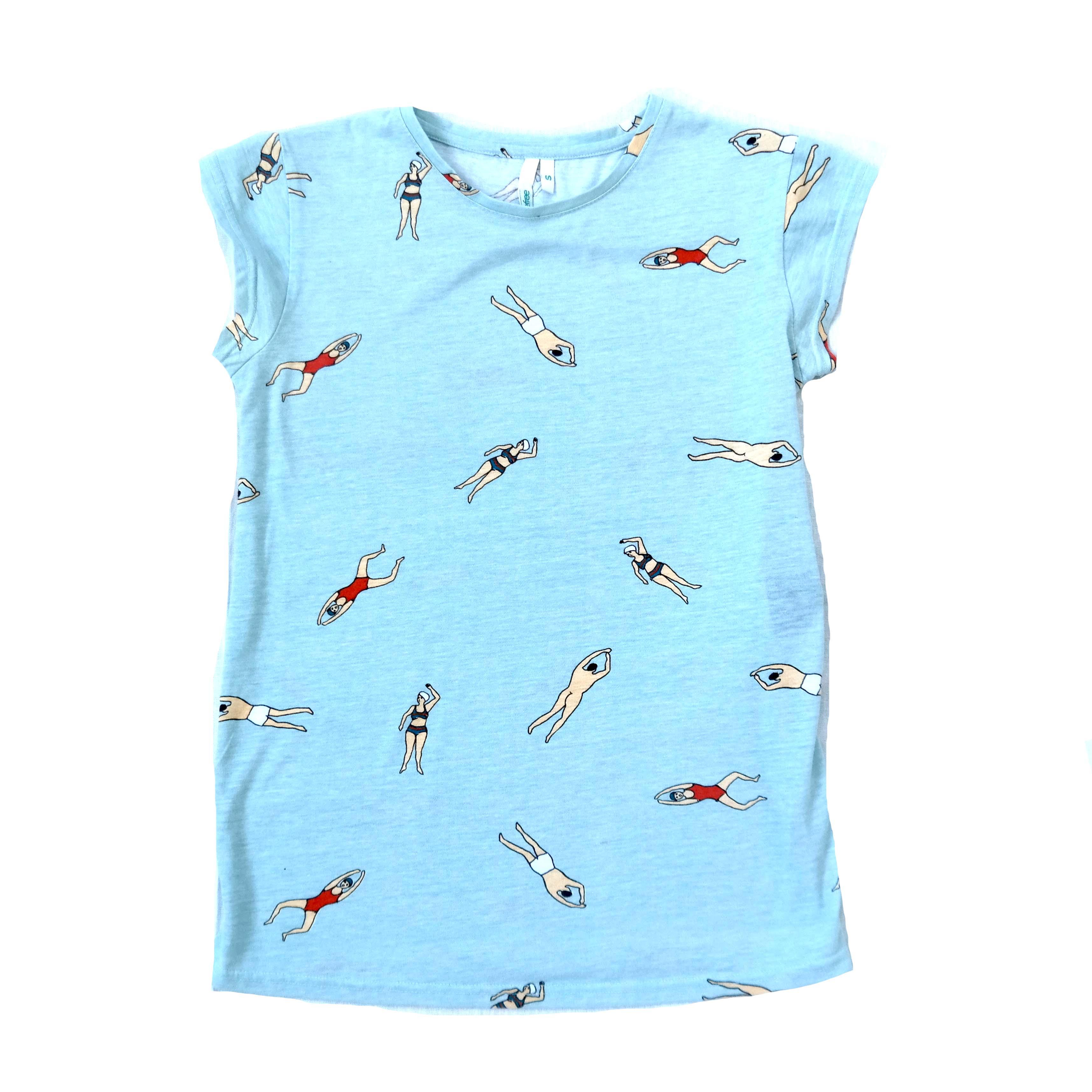 Женская хлопковая голубая футболка в Москве