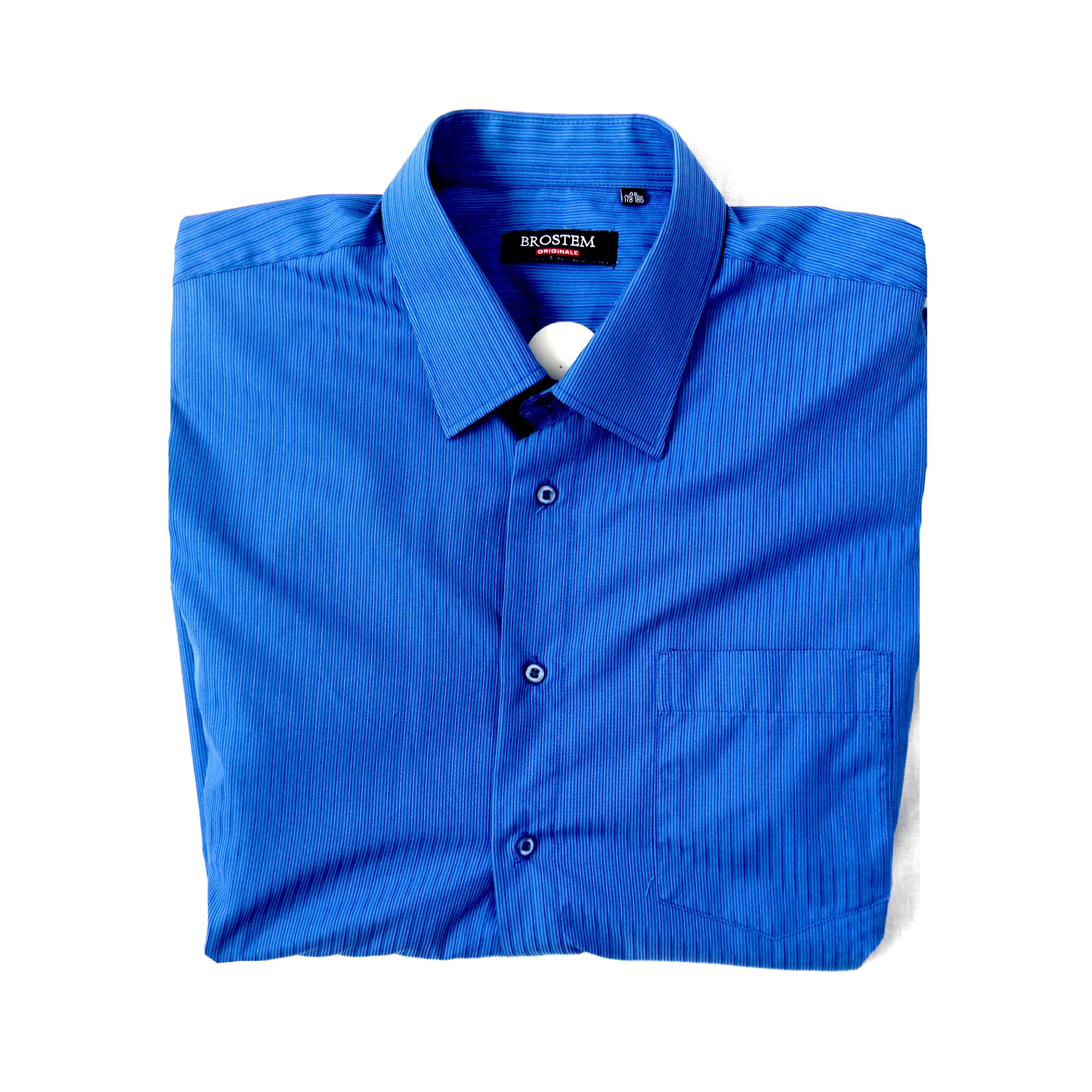 Синяя мужская рубашка с коротким рукавом в Челябинске