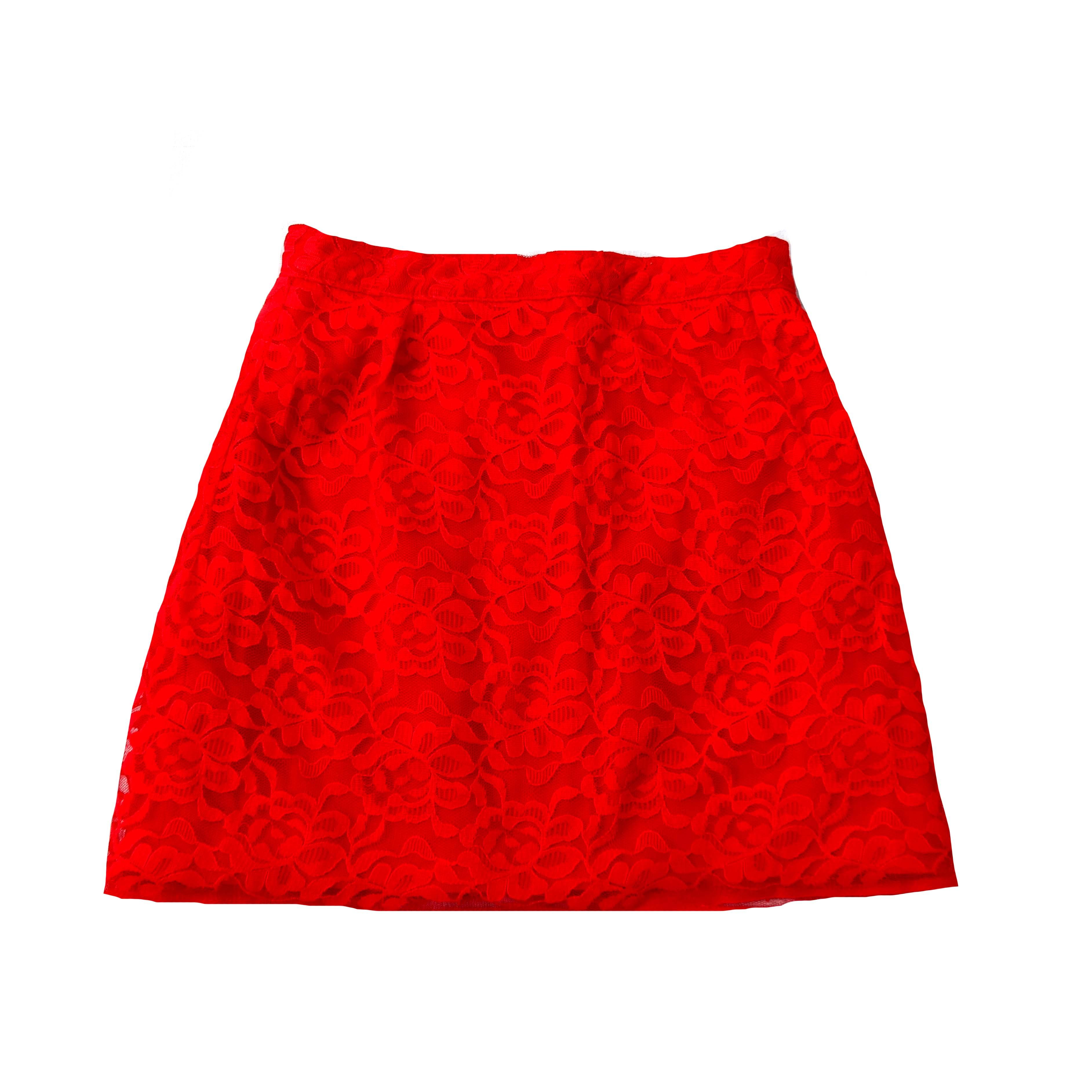 Красная женская мини-юбка с кружевом в Москве
