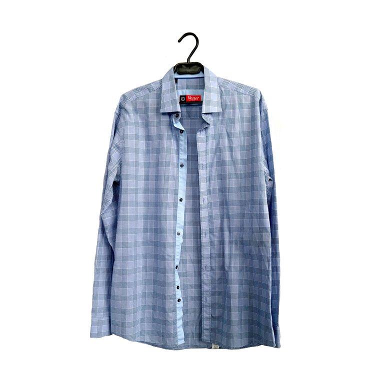 Мужская рубашка с длинным рукавом голубая в Челябинске
