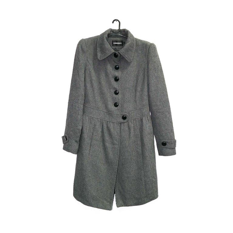 Пальто женское серое с поясом на пуговице в Челябинске