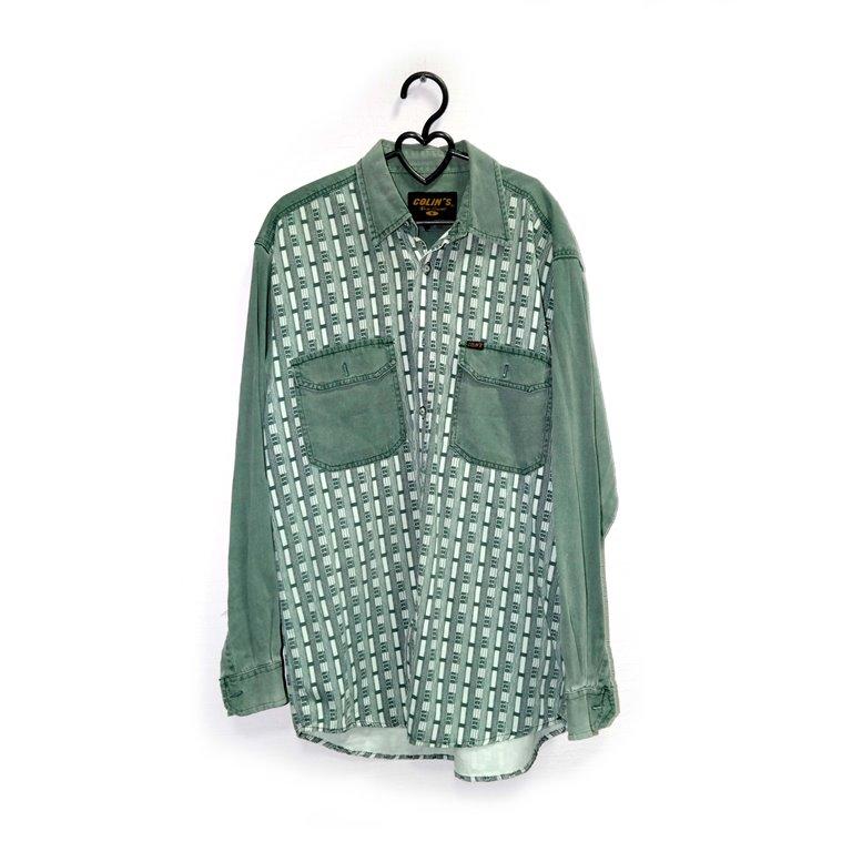 Рубашка мужская зеленая с карманами в Челябинске