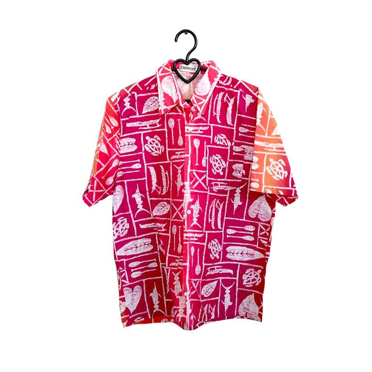 Гавайская мужская рубашка малиновая в Москве