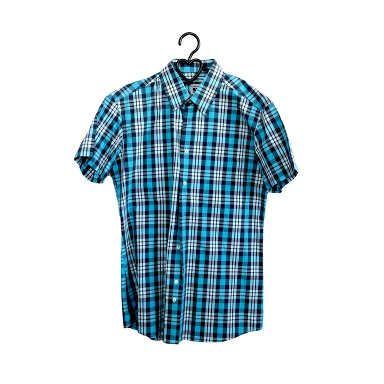 Мужская рубашка с коротким рукавом в голубую клетку в Челябинске