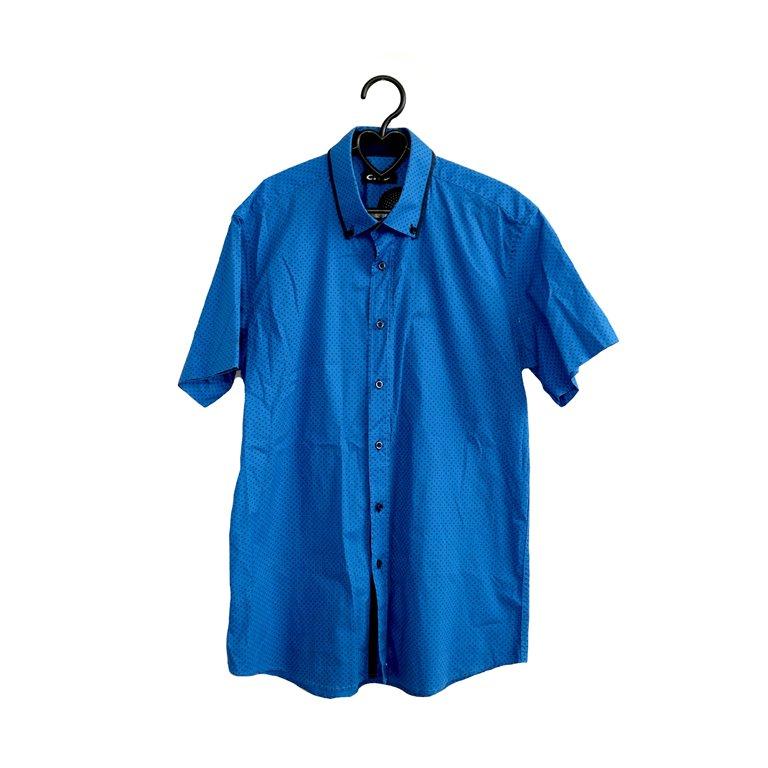 Рубашка мужская синяя в мелкий горошек в Челябинске