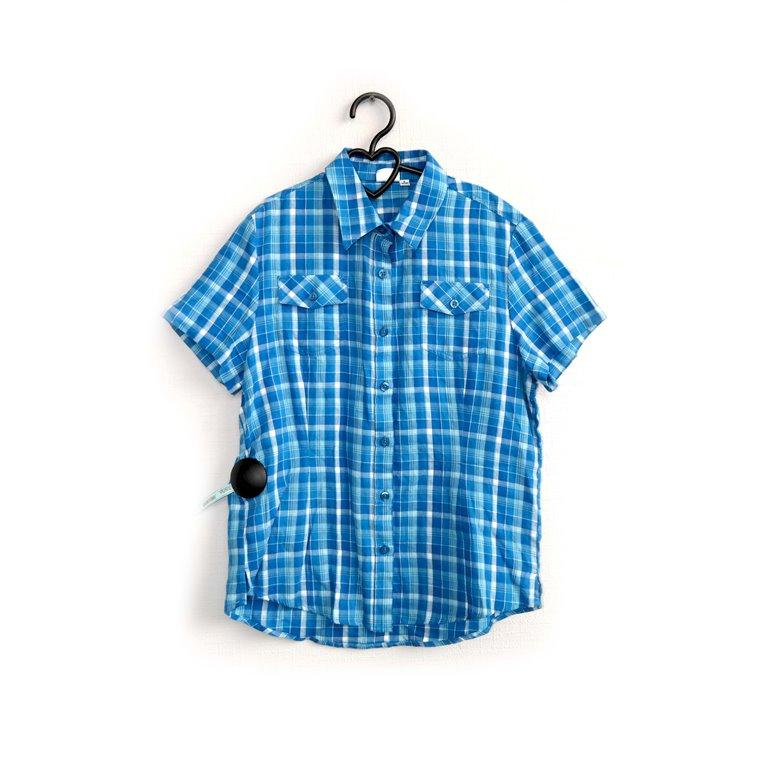 Рубашка мужская голубая в клетку в Челябинске
